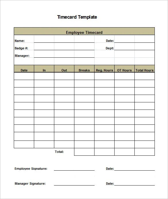8+ Printable Time Card Templates \u2013 Free Word, Excel  PDF Format