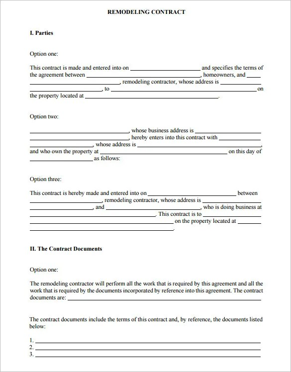 7+ Remodeling Contract Templates u2013 Free Word, PDF Format Download - remodeling contract template