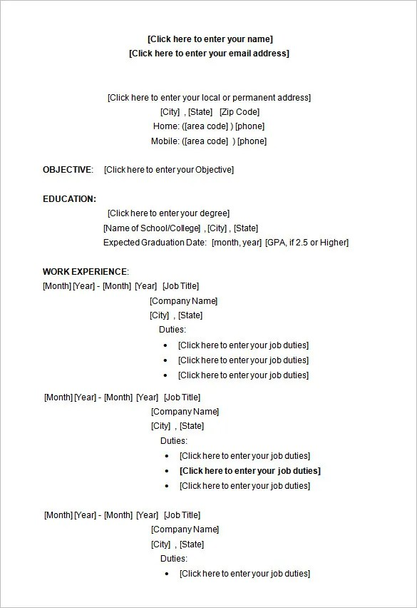 sample resume templates microsoft word - Ozilalmanoof