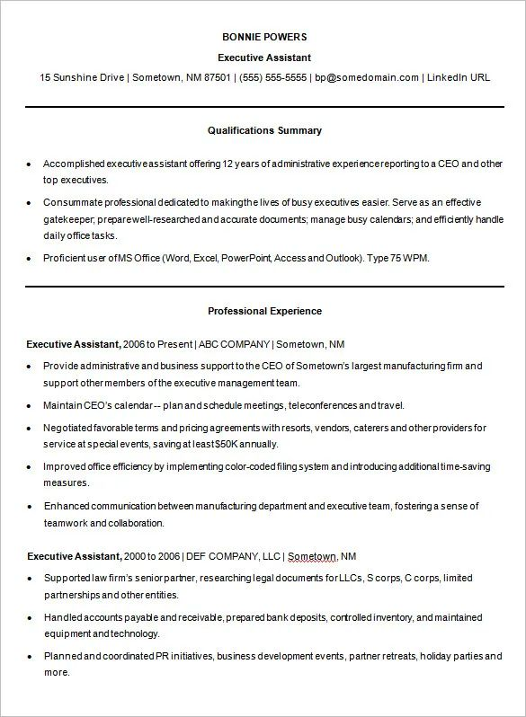 executive resume examples 2015