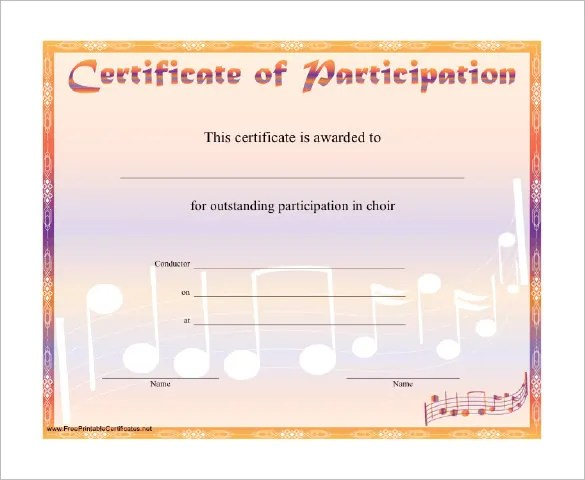 7+ Printable Music Certificate Templates - Free Word, PDF Documents