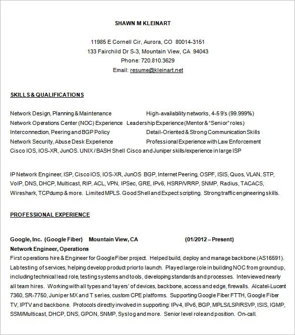 resume for network engineer - Ozilalmanoof