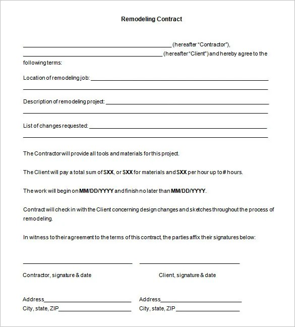 12+ Remodeling Contract Templates - Docs, Word, Pages Free