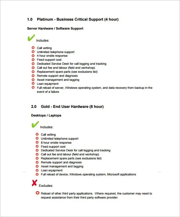 9+ IT Support Contract Templates \u2013 Free Word, PDF Documents Download - Service List Sample