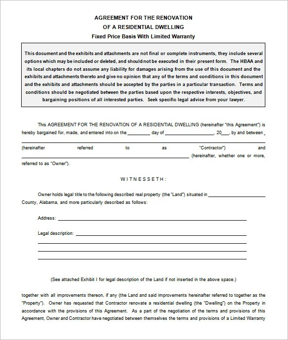 9+ Remodeling Contract Templates - Free Word, PDF Format Download