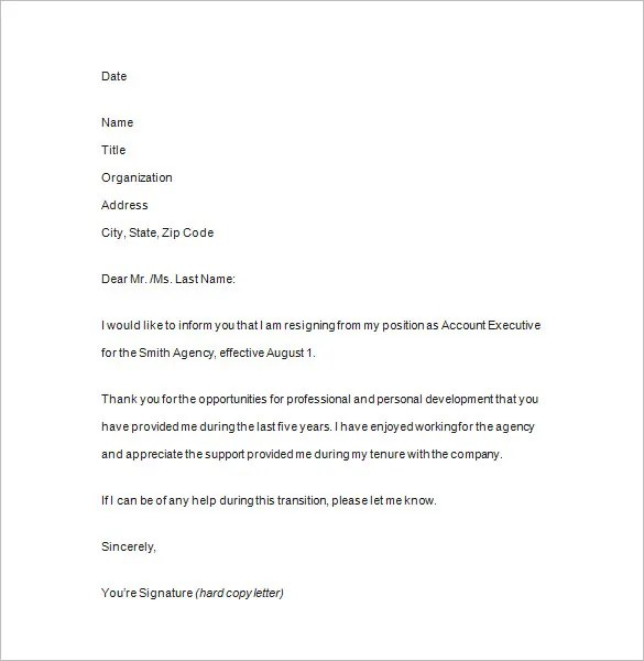Notice of Resignation -11+ Free Samples, Examples, Format Download - examples of resignation letters