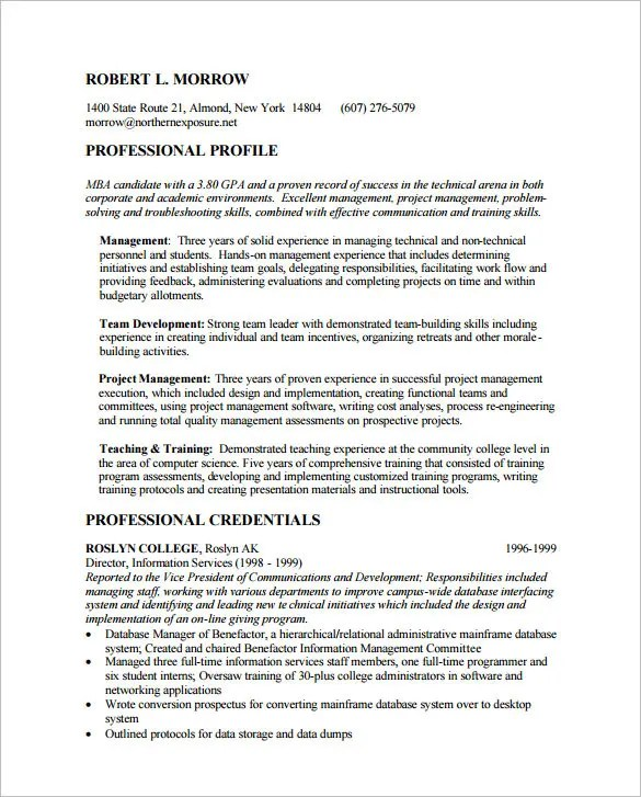 MBA Resume Template \u2013 11+ Free Samples, Examples, Format Download - Mba Application Resume Format