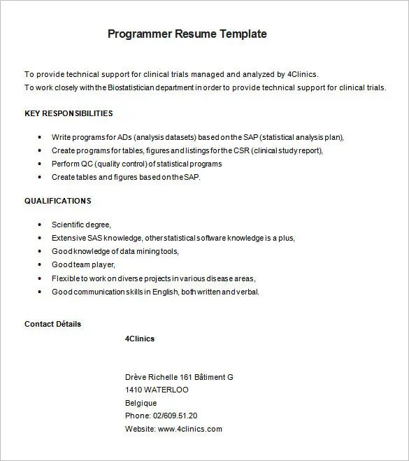 programmer sample resumes