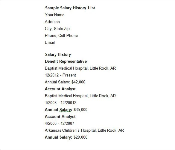 9+ Sample Salary History Templates \u2013 Free Word, PDF Documents