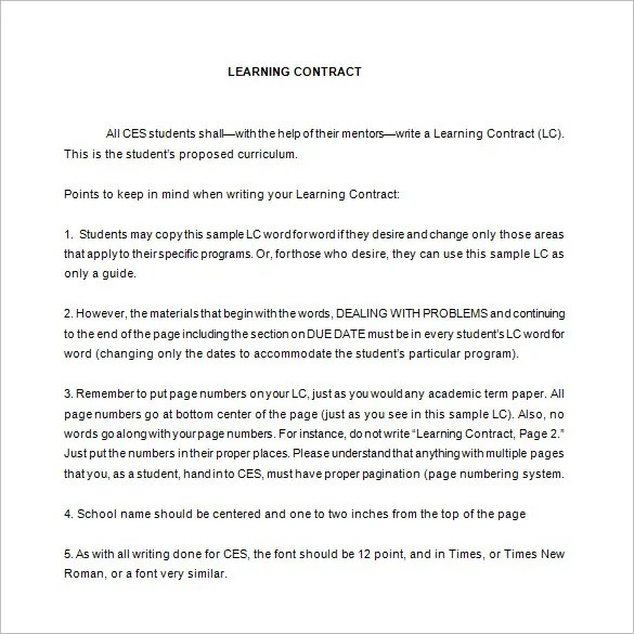 6+ Learning Contract Templates  Samples - PDF, DOC Free  Premium - student contract templates