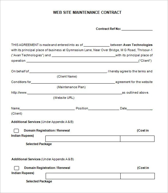 12+ Maintenance Contract Templates - DOC Free  Premium Templates - Yearly Contract Template