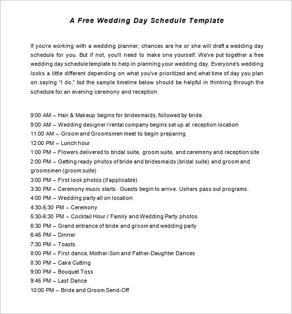 32+ Wedding Timeline Templates - Free Sample, Example, Format