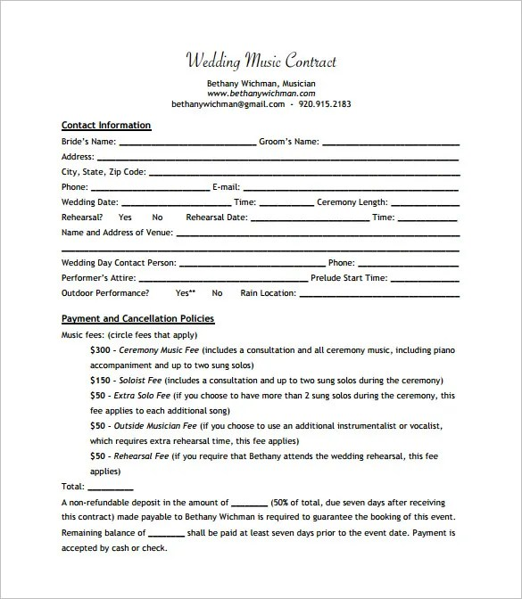 16+ Music Contract Templates - Free Word, PDF Documents Download