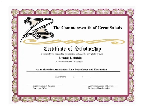 9+ Scholarship Certificate Templates \u2013 Free Word, PDF Format - sample scholarship certificate