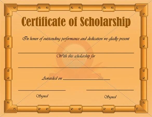 9+ Scholarship Certificate Templates u2013 Free Word, PDF Format - sample scholarship certificate
