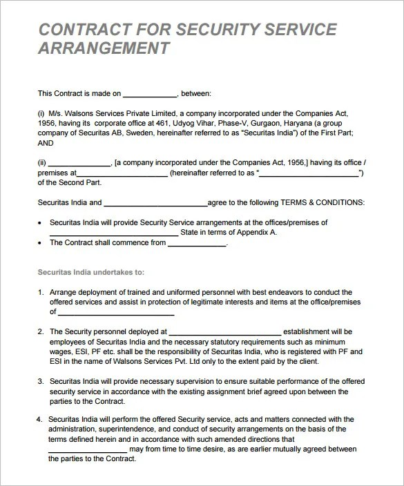 security contract - Ozilalmanoof - contractor security guard sample resume