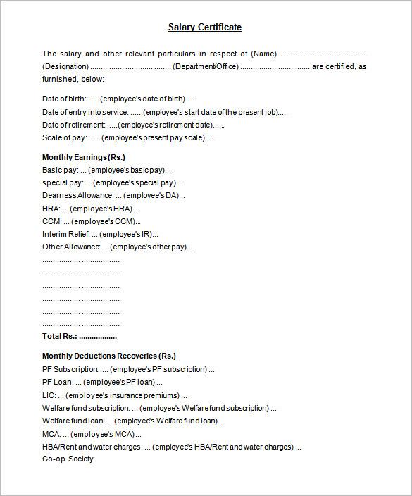 Letter Format Salary Deduction   Sample best Resume
