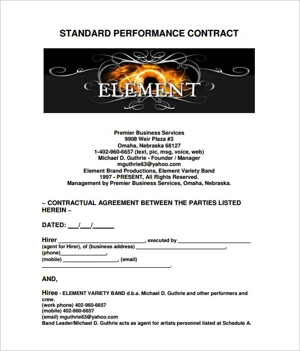 Artist Performance Agreement Contract Sample  Create Professional