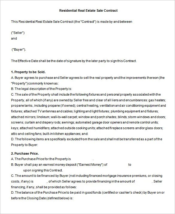 6+ Real Estate Contract Templates - PDF, DOC Free  Premium Templates