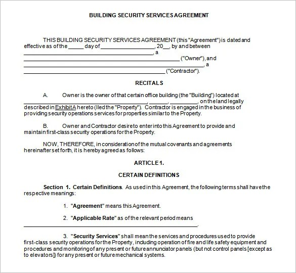 7+ Security Contract Templates u2013 Free Word, PDF Format Download - business service contract template