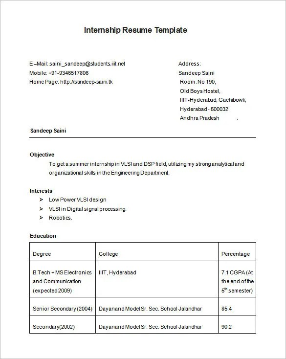 resume for internship computer science computer science student resume best sample resume internship resume template