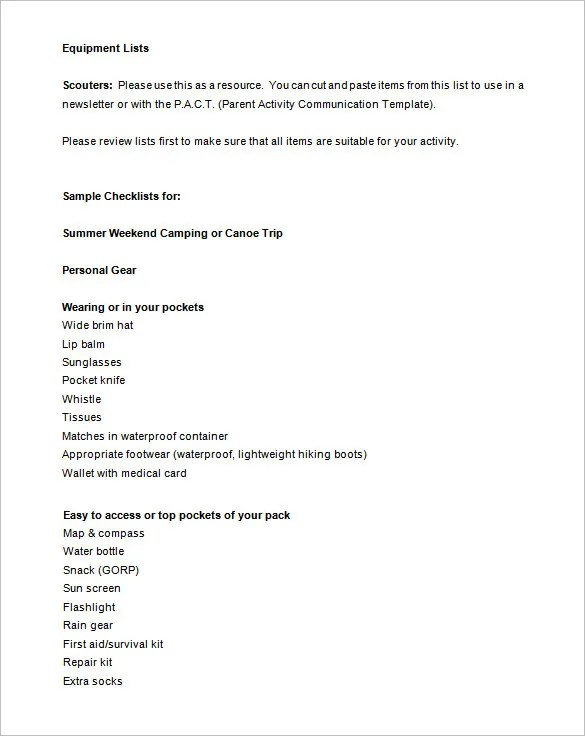 Camping Checklist Templates \u2013 20+ Free Word, Excel, PDF Documents