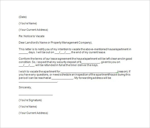 Letter Of Notice To Tenant Vacate Property Uk - Letter Idea 2018 - notice to vacate template