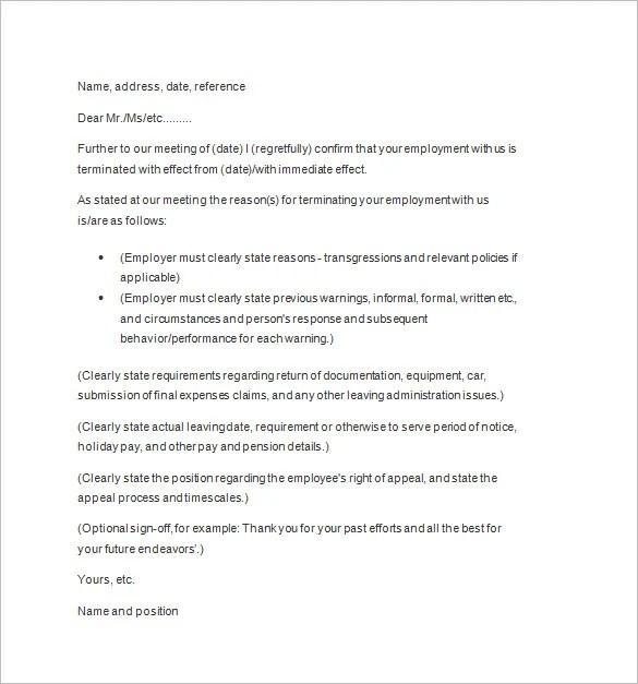 Termination Notice Template 9+ Lease Termination Letter Template - sample final notice letter