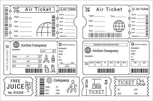 printable airline ticket template - Boatjeremyeaton - plane ticket template