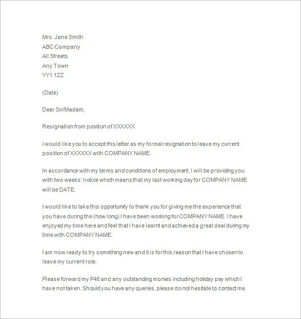 11+ Two Weeks Notice Letter Templates - PDF, Google Docs, MS Word
