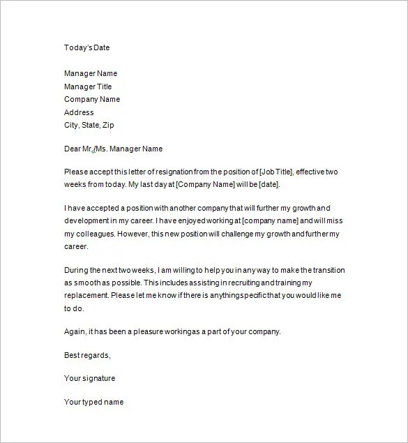 10+ Two Weeks Notice Letter Templates - PDF, DOC Free  Premium - 2 Weeks Notice Template