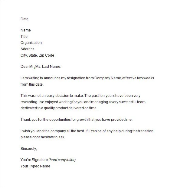 two weeks resignation letter - Ozilalmanoof - resignation letter 2 week notice