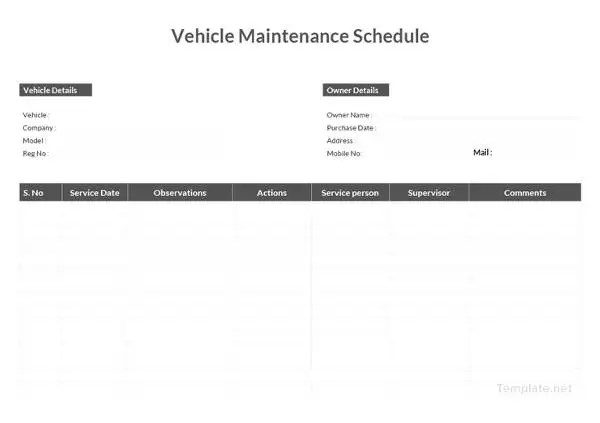 Vehicle Maintenance Schedule Templates - 10+ Free Word, Excel, PDF