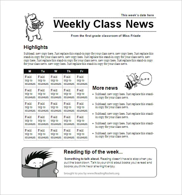 6+ School Newsletter Templates \u2013 Free Word, PDF Format Download