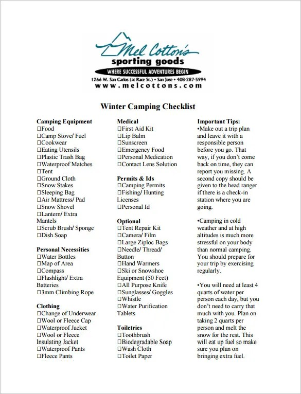 Camping Checklist Templates \u2013 20+ Free Word, Excel, PDF Documents - sample camping checklist