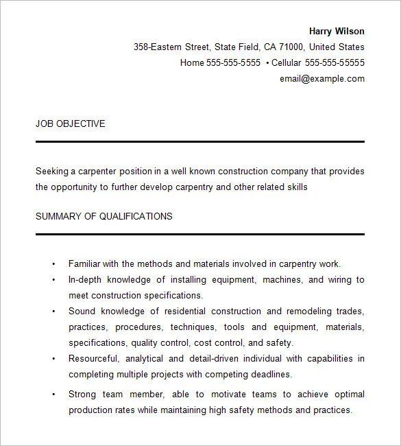 resume cover letter example carpenter