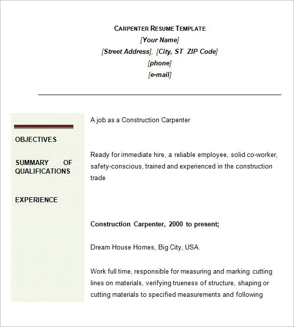 Job Description For An Apprentice Carpenter Career - carpenter job description