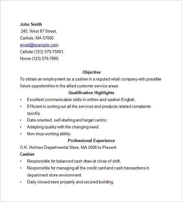 resume sample as cashier
