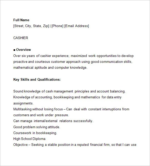 Cashier Resume Template \u2013 16+ Free Samples, Examples, Format - resumes for cashiers