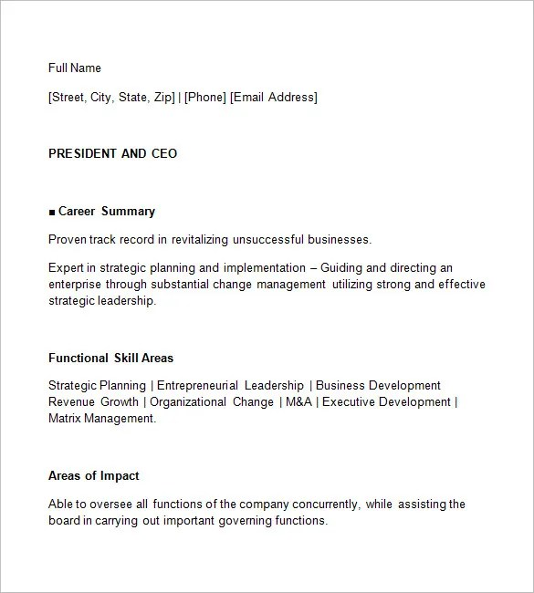 CEO Resume Template \u2013 11+ Free Samples, Examples, Format Download