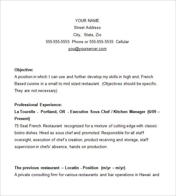 chef resume template free