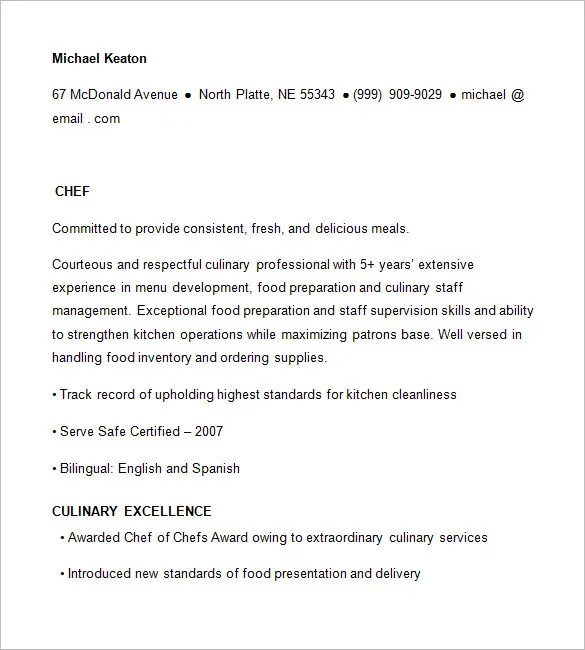 Chef Resume Templates \u2013 14+ Free Samples, Examples, PSD Format - sushi chef resume