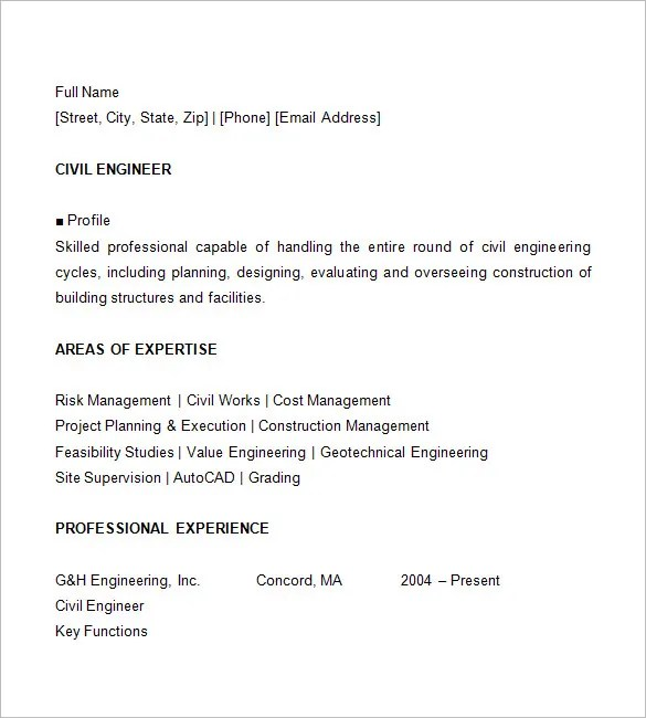 16+ Civil Engineer Resume Templates - PDF, DOC Free  Premium - how to write a resume for a job interview