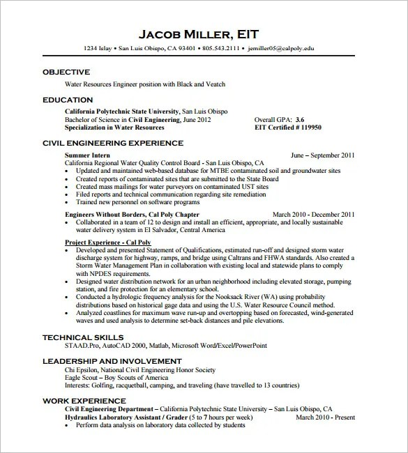 16+ Civil Engineer Resume Templates - PDF, DOC Free  Premium - Eit On Resume