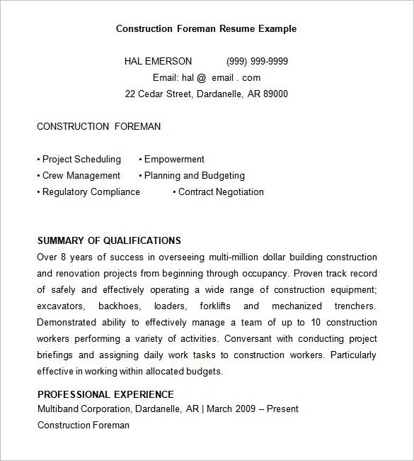 construction supervisor resume template