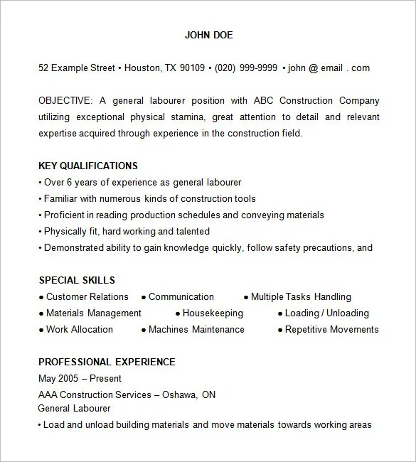 Construction Resume Template \u2013 9+ Free Samples, Examples, Format