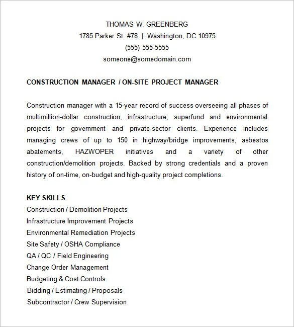 Project Manager Resume Template \u2013 6+ Free Samples, Examples, Format - project management sample resume