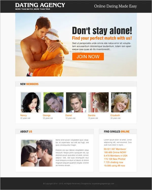dating agency landing page templates