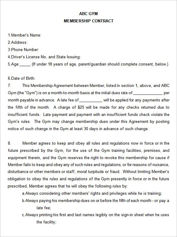 Fitness Club Membership Contract \u2013 Berry Blog