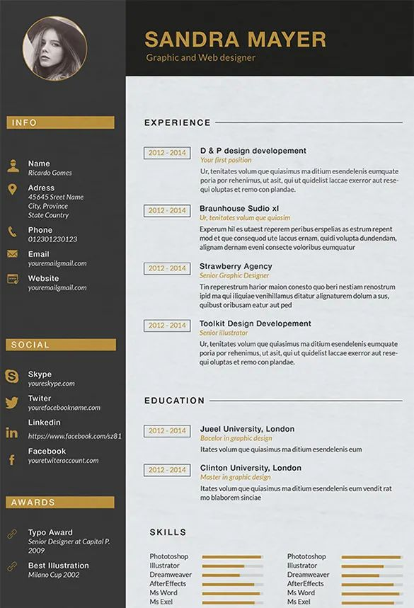 graphic designer cv template psd free download